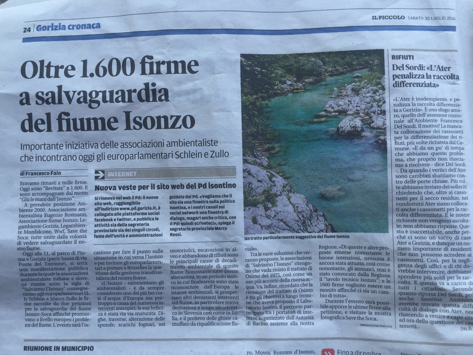 Il Piccolo- Oltre 1.600 firme a salvaguardia del fiume Isonzo