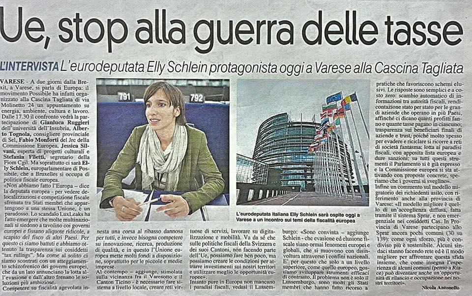 """La Prealpina- """"UE, stop alla guerra delle tasse"""""""