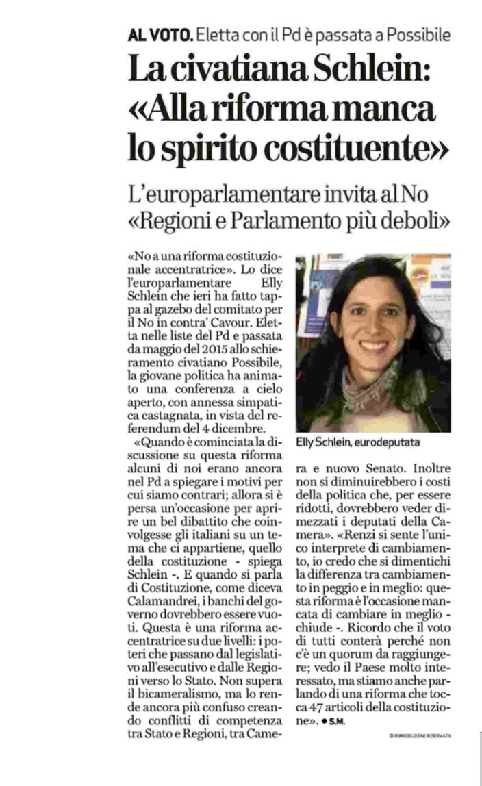 """Il Giornale di Vicenza- La civatiana Schlein: """"Alla riforma manca lo spirito costituente"""""""