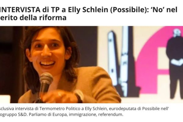 Elly Schlein on the European Parliament: interview conducted by Alessandro Faggiano for Termometro Politico