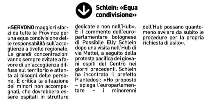 """Repubblica Bologna – Resto del Carlino Bologna: Schlein in via Mattei """"Disagi per i minori, l'Emilia dia un aiuto"""" – Schlein """"Equa condivisione"""""""