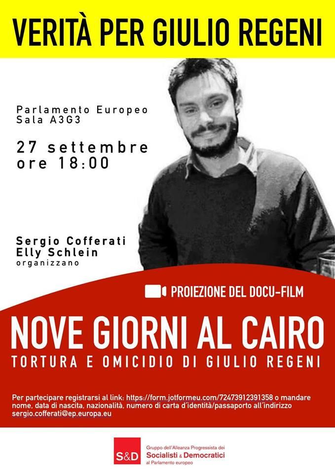 """Giulio Regeni, al Parlamento europeo la proiezione di """"Nove giorni al Cairo"""""""