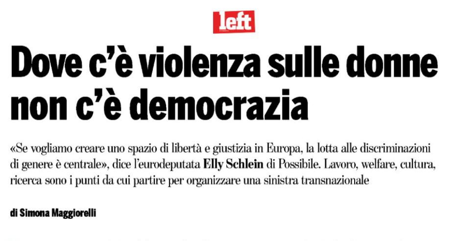 Left – Dove c'è violenza sulle donne non c'è democrazia