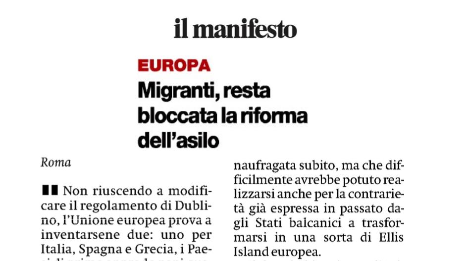 il Manifesto – Migranti, resta bloccata la riforma dell'asilo