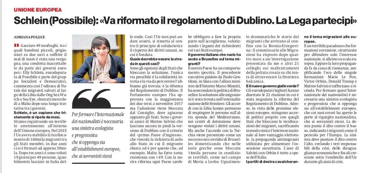 il Manifesto – Elly Schlein (Possibile): «Va riformato il regolamento di Dublino. La Lega partecipi»