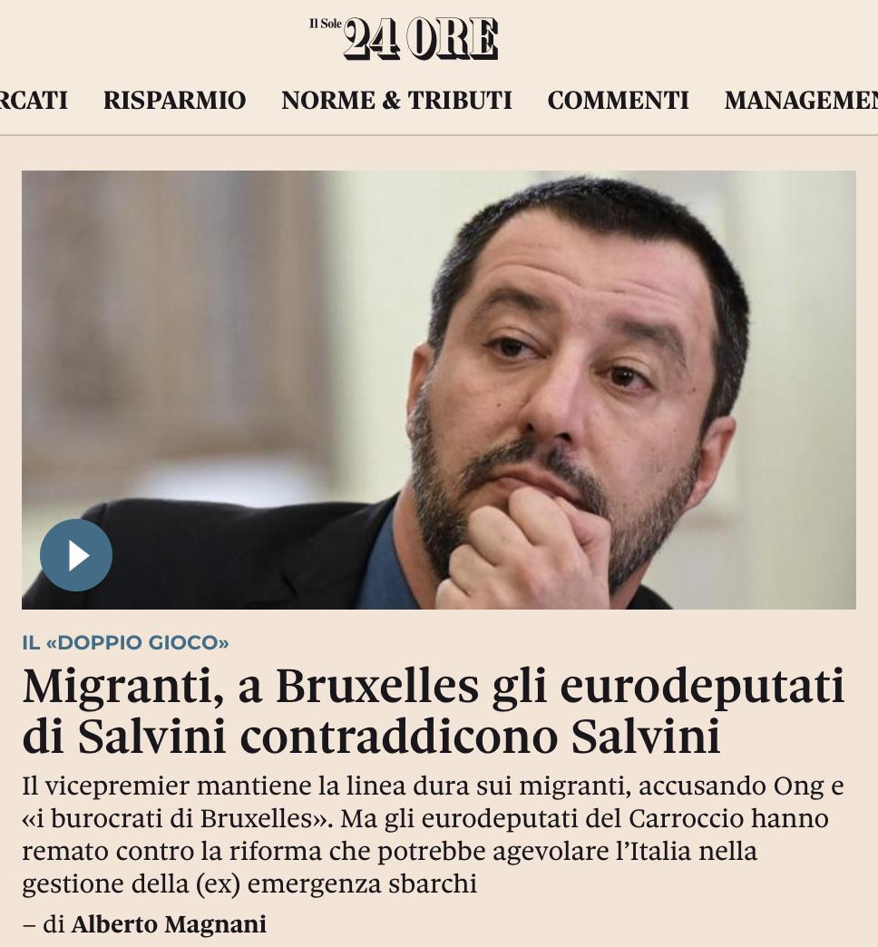 il Solo 24 Ore – Migranti, a Bruxelles gli eurodeputati di Salvini contraddicono Salvini