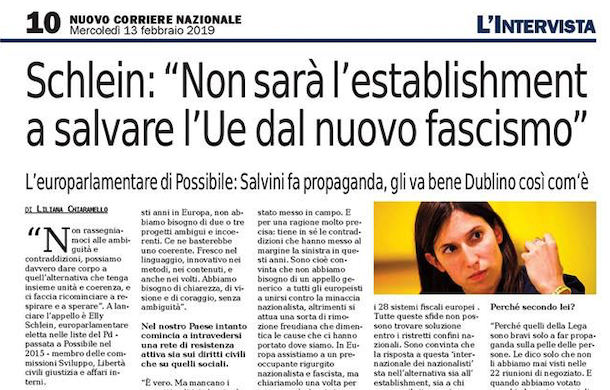 Nuovo Corriere Nazionale – Schlein: Salvini fa solo propaganda, Dublino gli va bene com'è