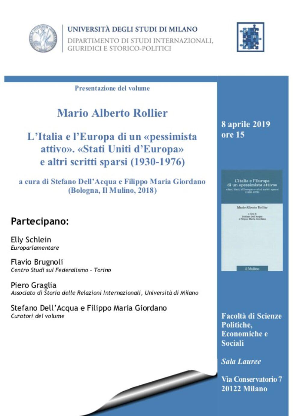 """Presentazione del volume """"Mario Alberto Rollier"""""""