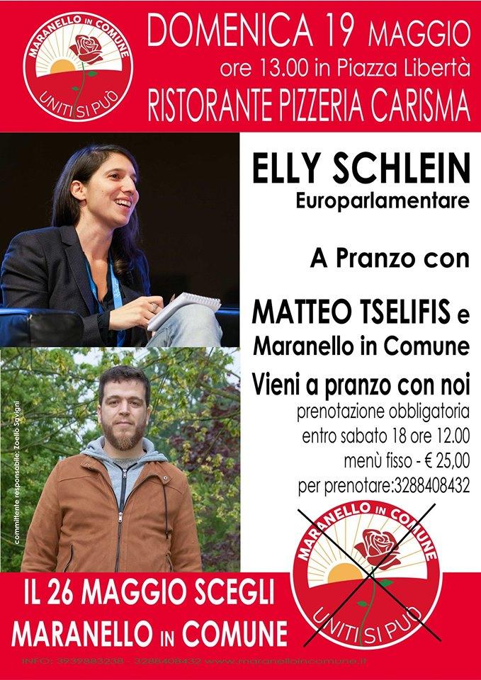 Elly Schlein a pranzo con Maranello in Comune