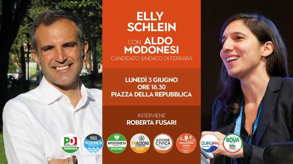 Elly Schlein a Ferrara per Modonesi Sindaco
