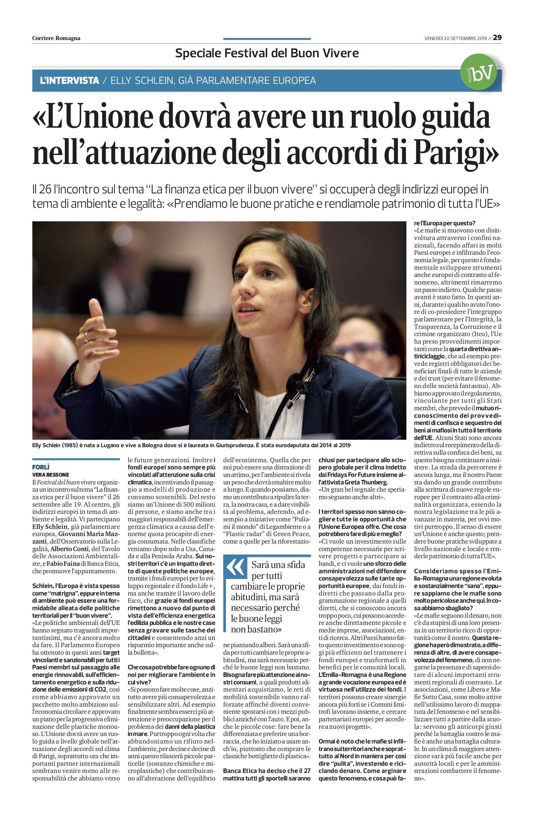 Corriere Romagna – Elly Schlein: «UE ruolo guida nell'attuazione degli accordi di Parigi»