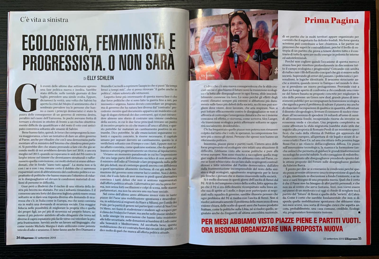 Ecologista, femminista e progressista. O non sarà