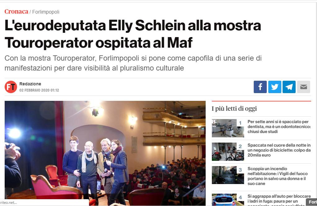 Forlì Today – L'eurodeputata Elly Schlein alla mostra Touroperator