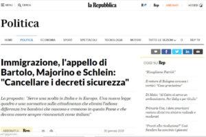 """La Repubblica – Immigrazione, l'appello di Bartolo, Majorino e Schlein: """"Cancellare i decreti sicurezza"""""""