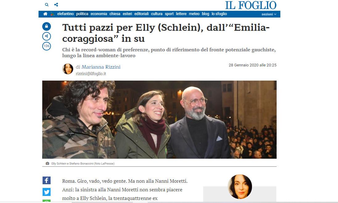 """Il Foglio – Tutti pazzi per Elly (Schlein), dall'""""Emilia-coraggiosa"""" in su"""