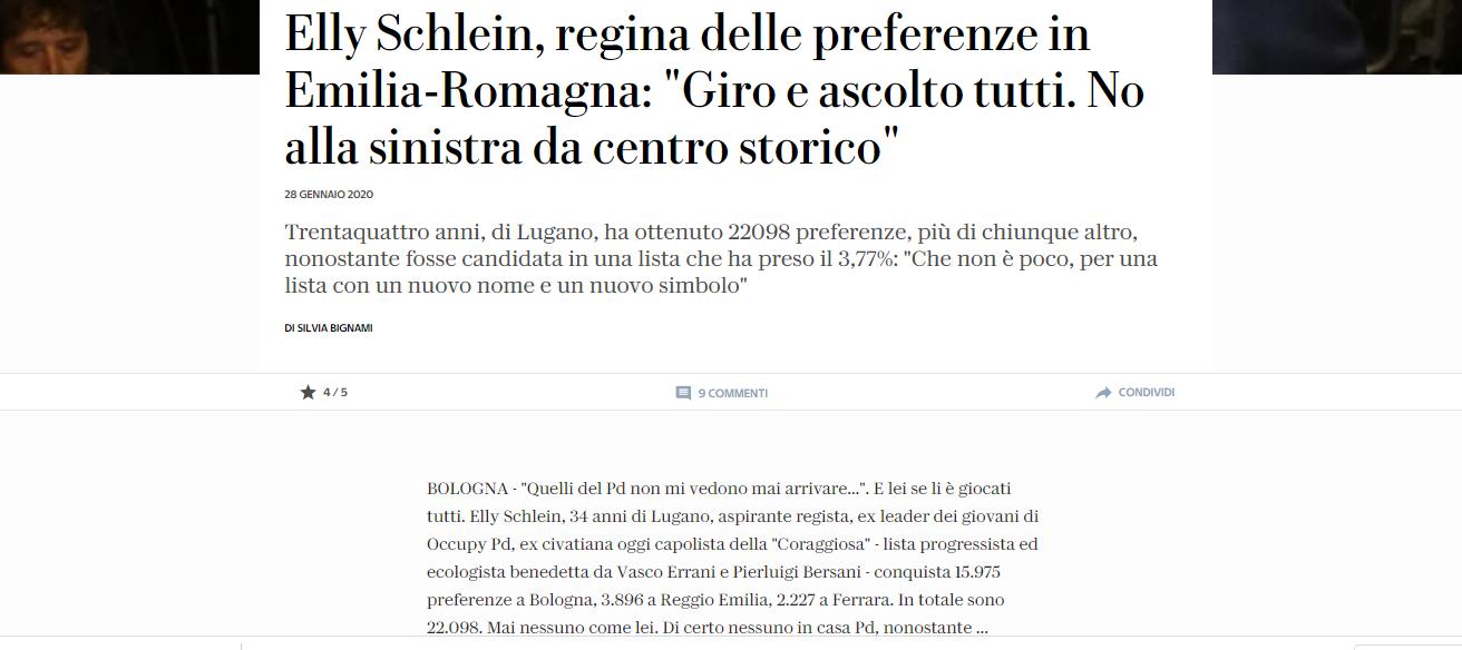 """La Repubblica; Schlein """"Giro e ascolto tutti No alla sinistra da centro storico"""""""
