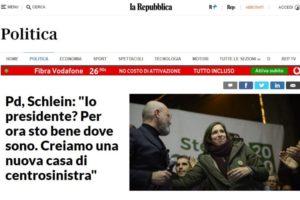 """La Repubblica – Pd, Schlein: """"Io presidente? Per ora sto bene dove sono. Creiamo una nuova casa di centrosinistra"""""""