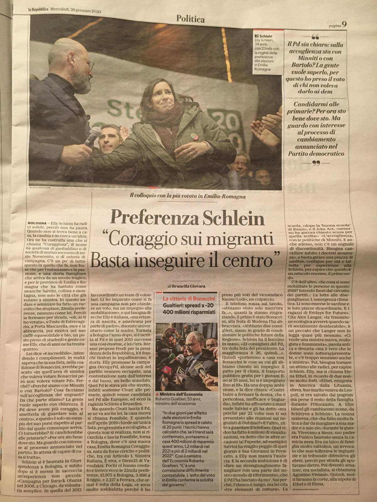 """La Repubblica – Preferenza Schlein """"Coraggio sui migranti. Basta inseguire il centro"""""""