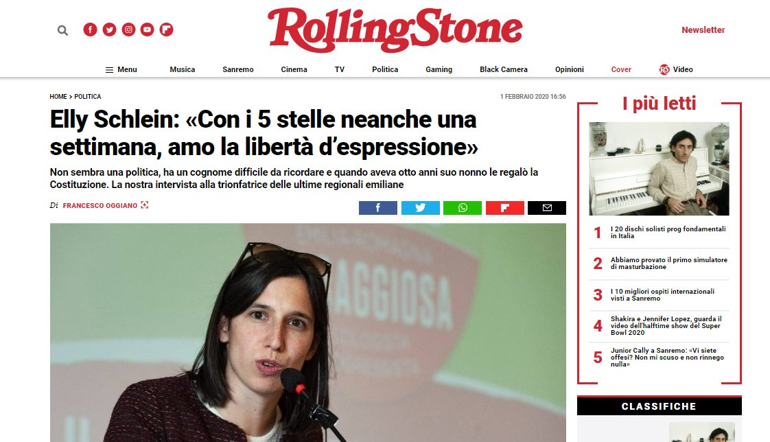Rolling Stones – Elly Schlein: «Con i 5 stelle neanche una settimana, amo la libertà d'espressione»